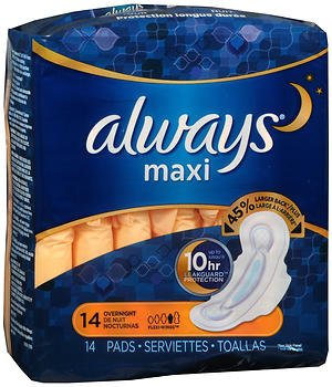 Always Overnight Maxi Pads with Flexi-Wings - 12pks of 14, Pack of 3 by Always