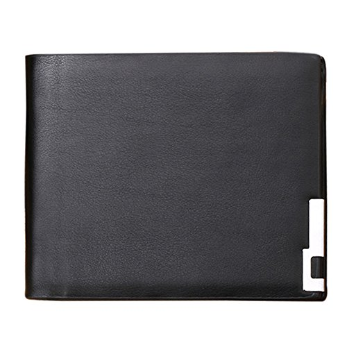 JD Million shop Genuine Leather Men Wallet Small Ultra Thin Card Holder Men Black Wallet ID Credit Card Holder Hasp wallet (Black)