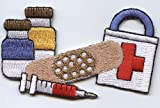Bandaid, Medicine, Needle and First Aid Kit Iron On Patch
