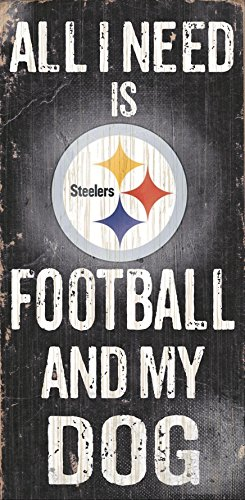 "Pittsburgh Steelers Wood Sign - Football and Dog 6""x12"""