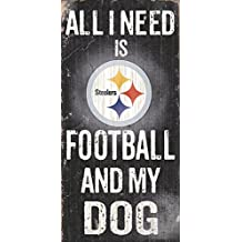 "Fan Creations NFL Football And My Dog Wood Sign 6"" x 12"""