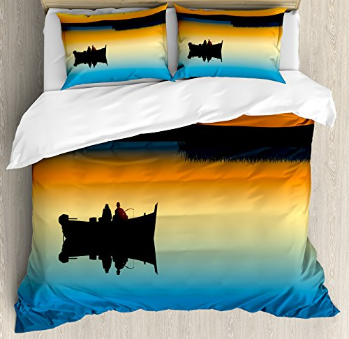Ambesonne Fishing Duvet Cover Set Queen Size, Buddies on Tranquil Still Lake at Epic Sunset Fishing Male Friends Bond Friendship, Decorative 3 Piece Bedding Set with 2 Pillow Shams, Orange Blue