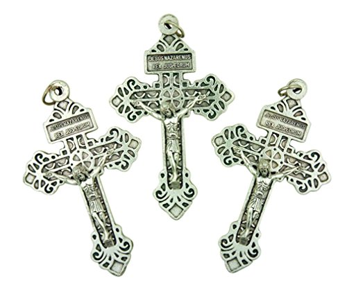 Lot of 3 Silver Tone Cross Pendant 2 1/4 Inch Pardon Crucifix with Sacred Heart