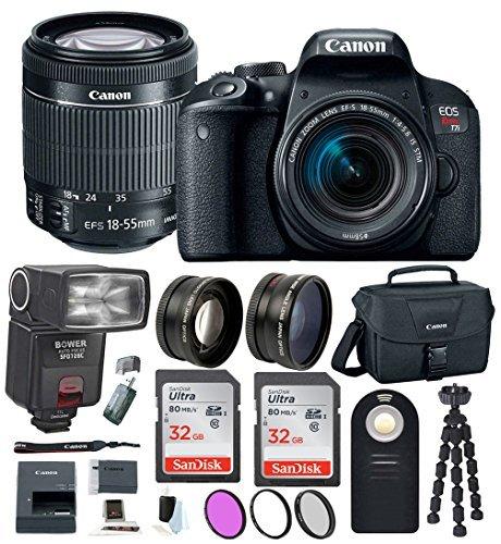 Canon EOS Rebel T7i Digital SLR w/18-55mm Lens + Bounce Swivel Zoom TTL Flash + 64GB SDHC Memory + 58mm Wide Angle & Telephoto Lenses + Wireless Remote Control + DSLR Bag + Advanced Accessory Bundle