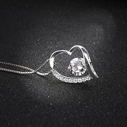 Pealrich Argent sterling 925Forever Amour Cœur Diamant Pendentif Collier, cadeau pour femme
