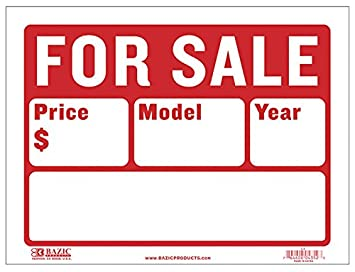 picture relating to Printable for Sale Signs for Cars named BAZIC 12\