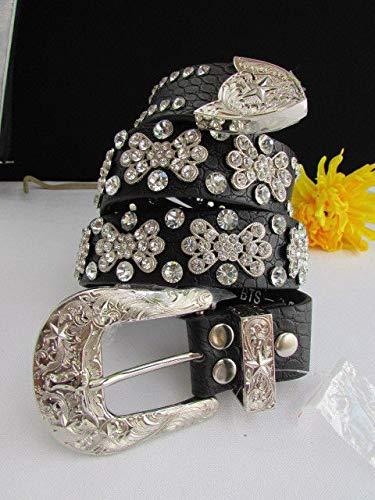 Women Flowers Belt Black Leather Fashion Bows Rhinestones Silver Buckle Size S M