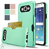 Galaxy J7 Case With HD Screen Protector,(Not Fit J7 2016)AnoKe[Card Slots Holder][Not Wallet] Plastic TPU Hybrid Shockproof Heavy Duty Case For Samsung Galaxy J7 J700 2015 KC2 Mint