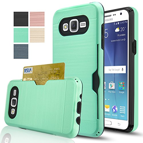 Price comparison product image Galaxy J7 Case With HD Screen Protector,(Not Fit J7 2016)AnoKe[Card Slots Holder][Not Wallet] Plastic TPU Hybrid Shockproof Heavy Duty Case For Samsung Galaxy J7 J700 2015 KC2 Mint