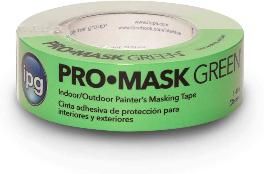 """IPG ProMask Green, 8-Day Painter's Tape, 1.41"""" x 60 yd, Green, (Single Roll)"""
