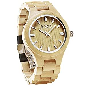 JORD Wooden Wrist Watches for Men or Women - Fieldcrest Series / Wood Watch Band / Wood Bezel / Analog Quartz Movement - Includes Wood Watch Box (Maple)