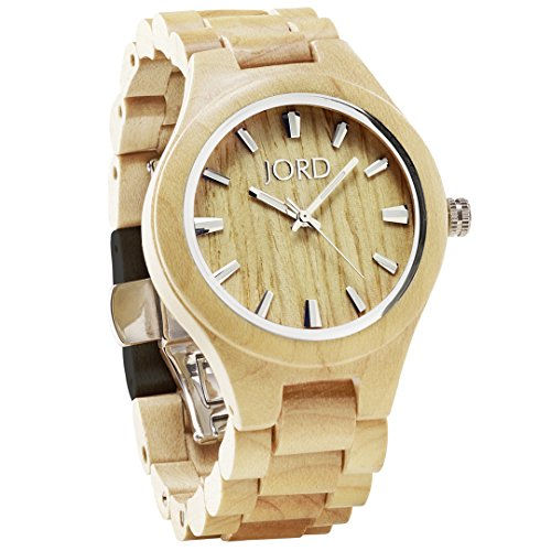 JORD Wooden Wrist Watches for Men or Women - Fieldcrest Series / Wood Watch Band / Wood Bezel / Analog Quartz Movement - Includes Wood Watch Box (Maple) by Jord