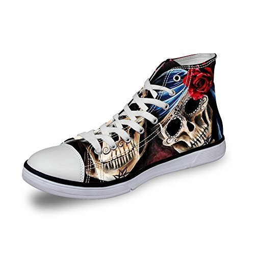 Skull High Top Shoes (FOR U DESIGNS Cool Smart Skull with Rose Printing Women's High Top Personalized Tennis Basic Athletic Sneaker US 10)