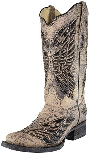 Corral Womens Black Sequin Wing Inlay Cowgirl Laars - Zwart / Bot