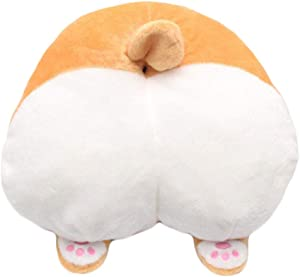 Corgi Butt Shaped Cushion Round Stuffed Plush Soft Toys Doll 36cm (Pillow)