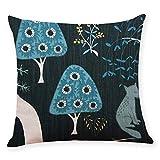 Pgojuni Cotton Linen Square Home Decorative Throw Pillow Case Sofa Waist Cushion Cover Sofa/Couch 1pc 45X45 cm (E)