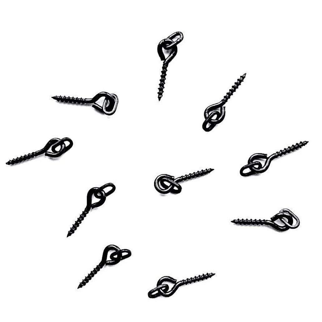Fliyeong Premium Quality 25Pcs 1.5cm Carp Fishing Bait Screw Hair Rigs Hook Terminal Tackle with Ring Black