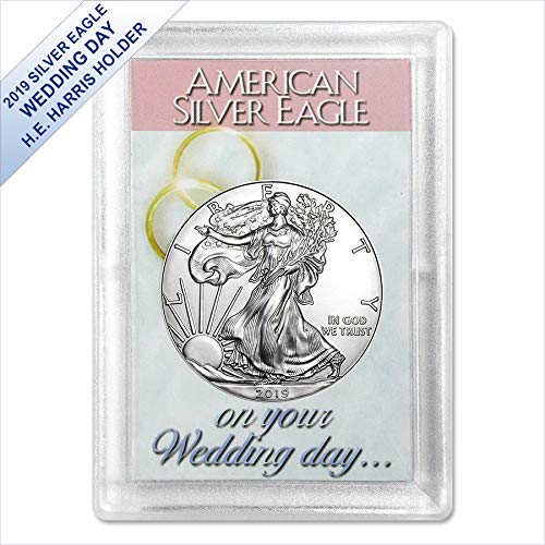 2019 American Silver Eagle in (Wedding Day Harris Gift Holder) $1 US Mint Brilliant Uncirculated ()