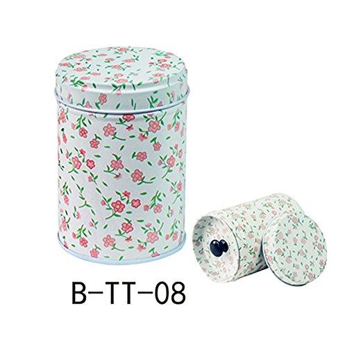 yanQxIzbiu Tea Container, Premium Cylindrical Candy Tinplate Retro Tin Box Coffee Tea Seal Storage Jar Canister Large Capacity - - Spoon Colonial Sugar