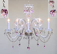 """Swarovski Crystal Trimmed Chandelier! Chandelier Lighting With Crystal Pink Hearts H25"""" X W24"""" - Perfect For Kids' And Girls Bedrooms!"""
