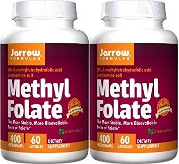 Jarrow Formulas Methyl Folate 5-MTHF 60 Capsules Pack of 2