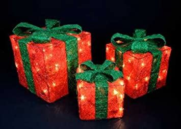 set of three red light up gift boxes