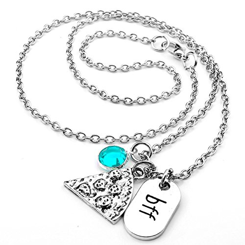 Top Plaza Womens Silver Tone Rhinestone Best Friends Forever BFF Necklace Engraved Pizza Pendant Necklace 20 Inches - Blue ()