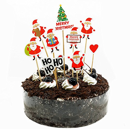 Maydolbone 18Pcs Christmas theme Cake Toppers,Food Picks Baby Shower Decor And Birthday Party (Baby Shower Decoratios)