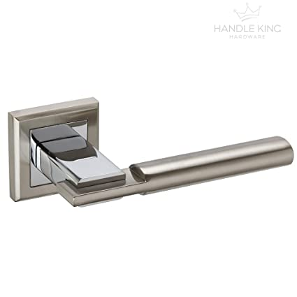 Door Hardware & Locks DIY & Tools Square Duo Finish Chrome Door Handles on Rose H750061D from Handle King