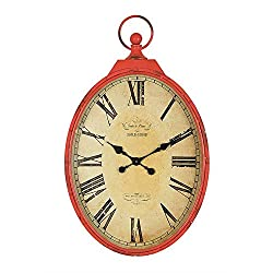 Creative Co-op Metal Pocket Watch Wall Clock with Red Crackle Finish