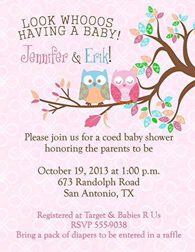 Owl Baby Shower Invitations Personalized Your Color Cute Owls (Invitations Shower Girl Baby Wording)