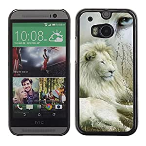 Impact Case Cover with Art Pattern Designs FOR HTC One M8 Lion Collage Nature White Eye King Africa Betty shop