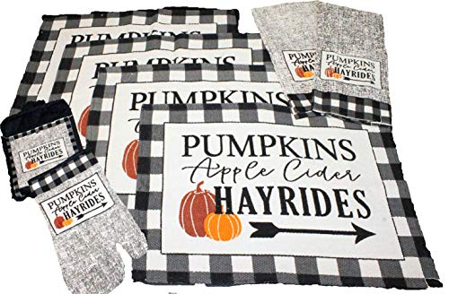Twisted Anchor Trading Co 8 pc Fall Placemats Set – Buffalo Plaid Placemats with Apple Cider, Hayrides & Pumpkins – Tapestry Style Autumn Home Decor