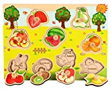 YChoice Educational Puzzle Kids Cute Wooden Educational Puzzle Early Learning Number Shapes Color Animal Toy Fantastic Gifts Kids(Fruit)