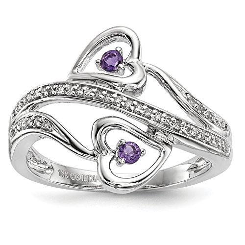 14k Amethyst Jewelry Set (ICE CARATS 14k White Gold Purple Amethyst Hearts Band Ring Size 7.00 Gemstone Fine Jewelry Gift Set For Women Heart)