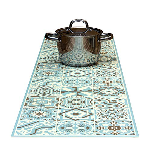 (Tiva Design Tender Blue Decorative Trivet and Kitchen Table Runners Handles Heat Up to 365F, Anti Slip, Hand Washable and Convenient for Hot Dishes and Pots)