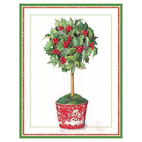 Caspari Holly Topiary Boxed Christmas Cards - 16 Cards & 16 Envelopes (Topiary Card)