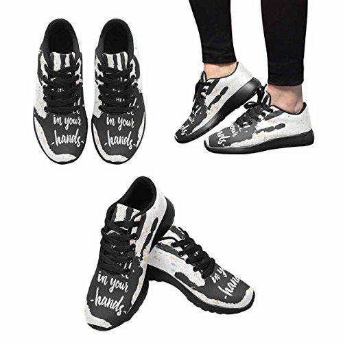 InterestPrint Womens Jogging Running Sneaker Lightweight Go Easy Walking Comfort Sports Running Shoes Its All In Your Hands, Calligraphic Inspiration Quote Multi 1