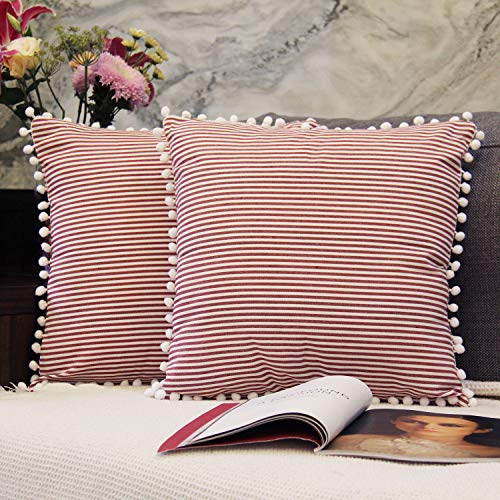 JOJUSIS Cotton Woven Striped Throw Pillow Covers with Balls Soft Solid Farmhouse Classic Decorative Cushion Pillowcases for Sofa Bedroom Car 18 x 18 Inch Red Pack of 2 ()