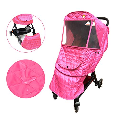 Pink Stroller Winter Cover - Wonder buggy Universal Stroller Weather Shield, Outdoor Waterproof Winter Snow Rain Cover, Cotton Warm Protection, Pink