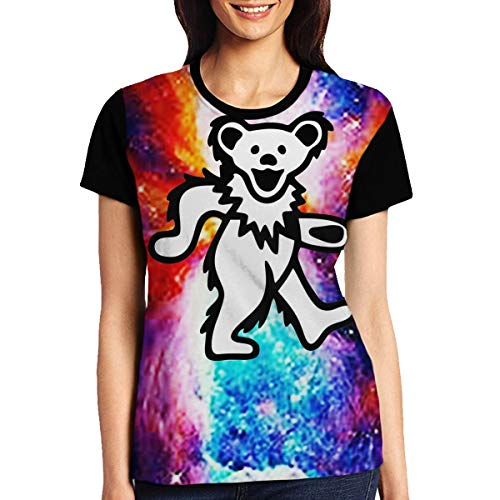 TGDBS3 Smile Grateful Dead Bear Mens' 3D Graphic Crew Neck T-Shirts S Black