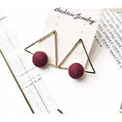 JD Million shop 2017 New Arrived Europe Personality Triangle Geometric Style Colorful Pom Pom Earrings
