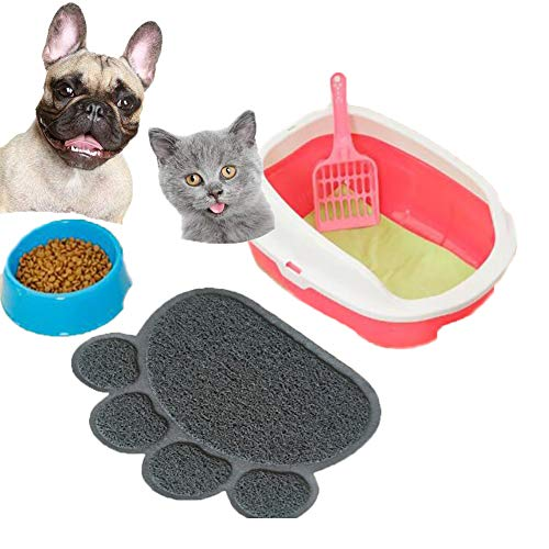 UREEN Paw Claw Embossed Style 11.8x15.8 inch PVC Pet Dish Dinner Water Bowl Mat Blanket for Dog Cat Pet Dark Gray