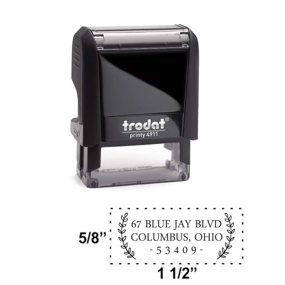 Custom Self-Inking Address Stamp with Laurel Branch Design Medium, Style 4