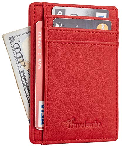 Travelambo Front Pocket Minimalist Leather Slim Wallet RFID Blocking Medium Size(Vipor Red)