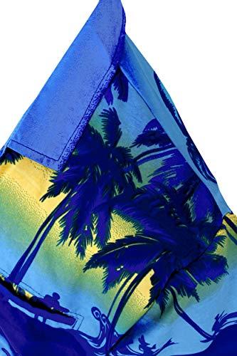 Manga Hawaiana Abajo Marino Las Hombre Corta Leela Azul Botón Camisa w349 La v5x0IqwX