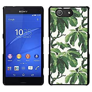 A-type Arte & diseño plástico duro Fundas Cover Cubre Hard Case Cover para Sony Xperia Z3 Compact / Z3 Mini (Not Z3) (Summer Tree Leaves Wallpaper Pattern)