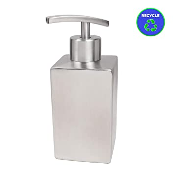 Bestseek Hand Soap Dispenser Compact Square Stainless Steel Refillable Dish  Liquid Soap Dispenser for Kitchen or Bathroom Countertop(12.1 Ounce/358 ...