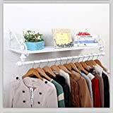 GSHWJS Iron Coat Rack Garment Hanger Wall Mounted, Single Rail Clothes Holder and Storage Floating Shelf for Entryway Hallway Bedroom Bathroom Coat Rack (Color : White, Size : 60x28cm)