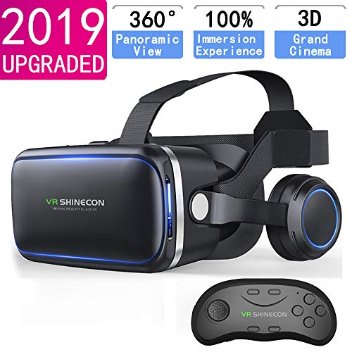 VR Headset with Remote Controller,HD 3D VR Glasses Virtual Reality Headset for VR Games & 3D Movies, VR Headset for iPhone/Android phone Compatible 4.7-6 inch ()